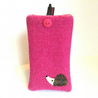 Pink Harris Tweed iPhone 4, 4S, 5 case, embroidered hedgehog, free UK delivery