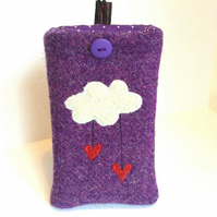 Purple Harris Tweed iPhone 4, 4S, 5 case, cloud raining hearts, free UK delivery