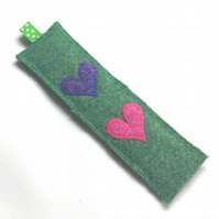 SALE - handmade green Harris Tweed bookmark with appliqued hearts