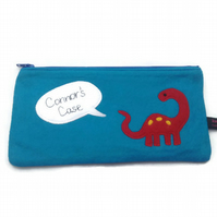Blue Personalised Kids Pencil Case - Dinosaur, zipped pouch, wool mix felt