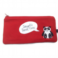 Red Personalised Kids Pencil Case - Panda, zipped pouch, wool mix felt
