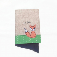 Mr Fox Notebook, A6 Notebook, mini notebook, plain pages, free UK delivery