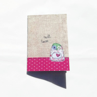 Owlie Notebook, A6 Notebook, mini notebook, plain pages, free UK delivery