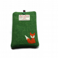 Kindle Cover, Kobo Case, Green Harris Tweed fabric with embroidered Mr Fox