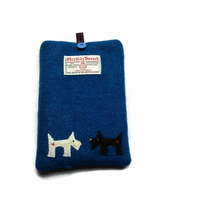 Kindle Cover, Kobo Case, Blue Harris Tweed fabric, embroidered westie & scottie