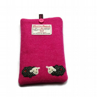 Kindle Cover, Kobo Case, Pink Harris Tweed fabric with embroidered sheep