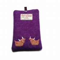 Kindle Cover, Kobo Case, Purple Harris Tweed fabric, embroidered highland cows