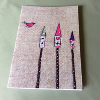 Birdhouses Notebook, A5 Notebook, Large Notebook, Sketchpad, Free UK Delivery