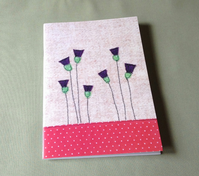 Thistles Notebook, A5 Notebook, large notebook, plain pages, sketchbook