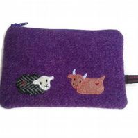Harris tweed purple zipper purse with embroidered baby cow & sheep