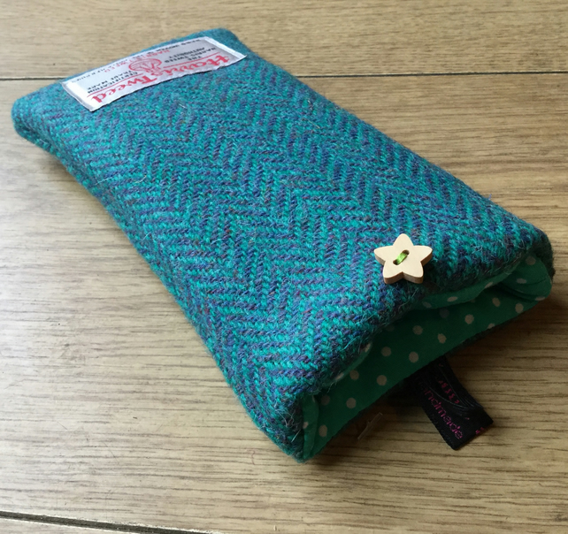 Glasses Case Jade Herringbone Harris Tweed