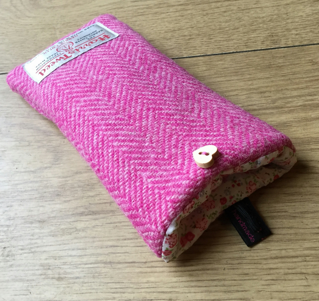 Glasses Case Pink Herringbone Harris Tweed