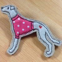 Greyhound felt brooch, whippet felt brooch