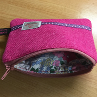 Bubblegum Pink Harris Tweed Coin Purse