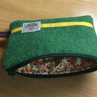 Bright Green Harris Tweed Coin Purse