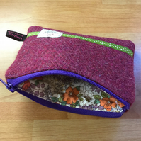 Raspberry Harris Tweed Coin Purse