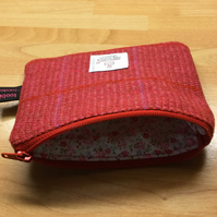 Red Check Harris Tweed Coin Purse