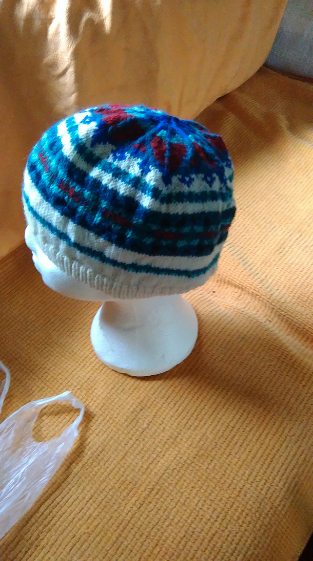 Hand knitted Fair Isle Hat