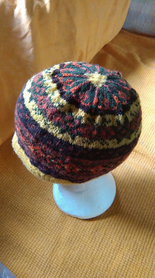 Brown and White Fair Isle Hat