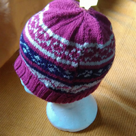 Hand knitted pink and white Fair Isle Hat
