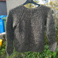 Hand knitted chunky tweed jumper size 8 to 10