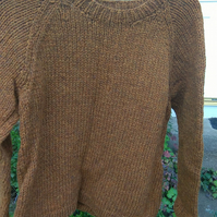 Hand knitted bronze Shetland Chunky jumper size 12