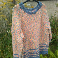 Vintage hand knitted chunky jumper pink with blue stripes size 18 to 20