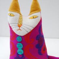 Textile Art CAT Doll Soft Sculpture Called Peggy