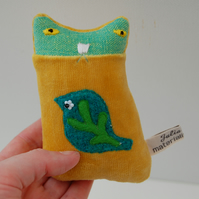 RESERVED for JULIA Yellow Velvet Textile art KITTEN Soft sculpture called BITSY