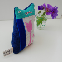 Blue Velvet KITTEN Textile Art  Soft Sculpture -  called Roger