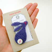 Rabbit Brooch - Purple Wool with Button Tail
