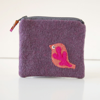 Handmade Wool Bird Coin Purse - Purple