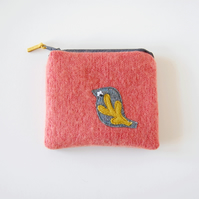 Bird Coin Purse - Peach Wool