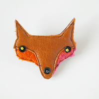 Handmade Fox Brooch Cute Animal Brooch Made From Recycled Leather and Wool