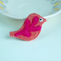 Bird Brooch - Peach and Hot Pink Wool