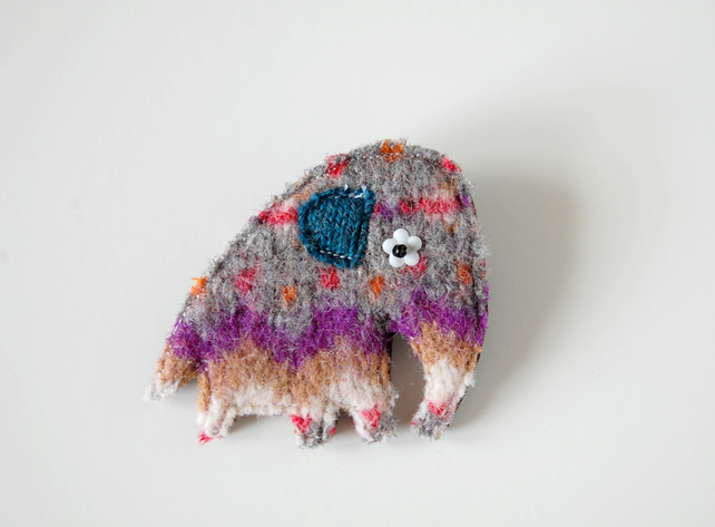 Handmade Elephant Brooch - Recycled Fairisle Wool
