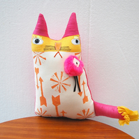 RESERVED FOR HEATHER - Textile Art CAT Doll Soft Sculpture Called Crystal