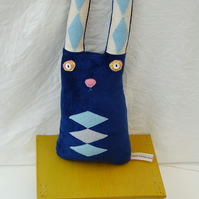 Gerald Rabbit Soft Sculpture Textile Art Doll Blue Velvet Harlequin Bunny