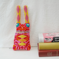 Rabbit Soft Sculpture Textile Art Doll Psychedelic Harlequin Clown Bunny