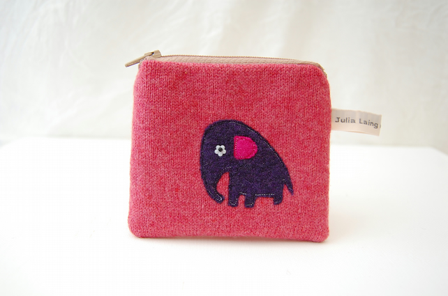 Pink Elephant Coin Purse - Pink Wool Applique Design