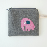 Elephant Coin Purse - Grey Cashmere Wool Applique Design
