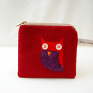 Red Wool Handmade Owl Purse Applique Design Pouch