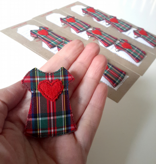 Handmade Tartan Dress Brooch with Red Wool Heart - Red Women's Accessories