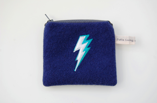 Handmade Navy Wool Coin Purse - Silver Lightning Bolt Design