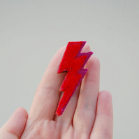Bowie Inspired Red Lightning Brooch Eco Accessories Made From Recycled Wool