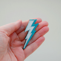 Flash of Lightning Brooch Turquoise and Silver Fabric