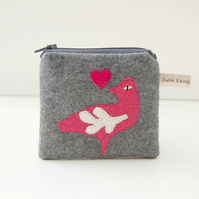 Grey Cashmere Coin Purse with Folk Art Bird Design