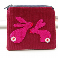 Coin Purse with Rabbits Applique Design - Burgundy Needlecord Fabric