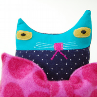 An Ornamental Textile-Art Soft Sculpture Cat Doll called Dotty Doris
