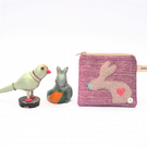 Coin Purse with Rabbit Design Handmade from Raspberry Pink Chenille